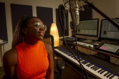 Student in recording studio