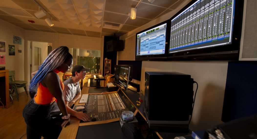students work in the recording studio in Owen Hall