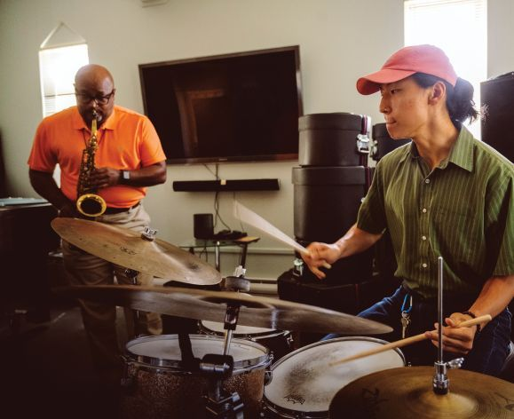Jazz Studies student and professor rehearsing