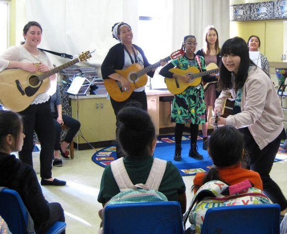 music therapy students during fieldwork